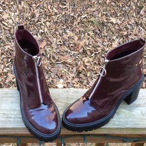 Forever 21 Crimson Maroon Red Chunky Heel Zip Boot